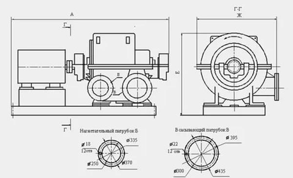 Схематический чертёж турбокомпрессора ТВ/ТГ 80-1,6