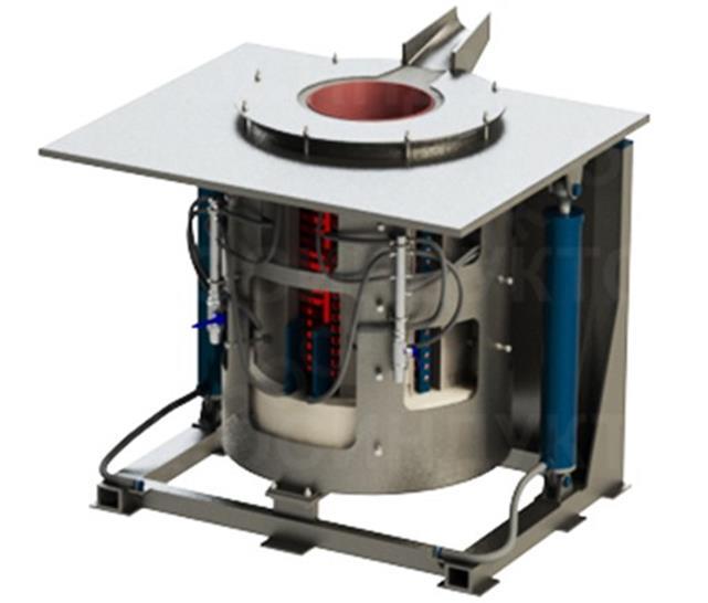 Компактная тигельная индукционная печь для небольшого предприятия на 200 кг.